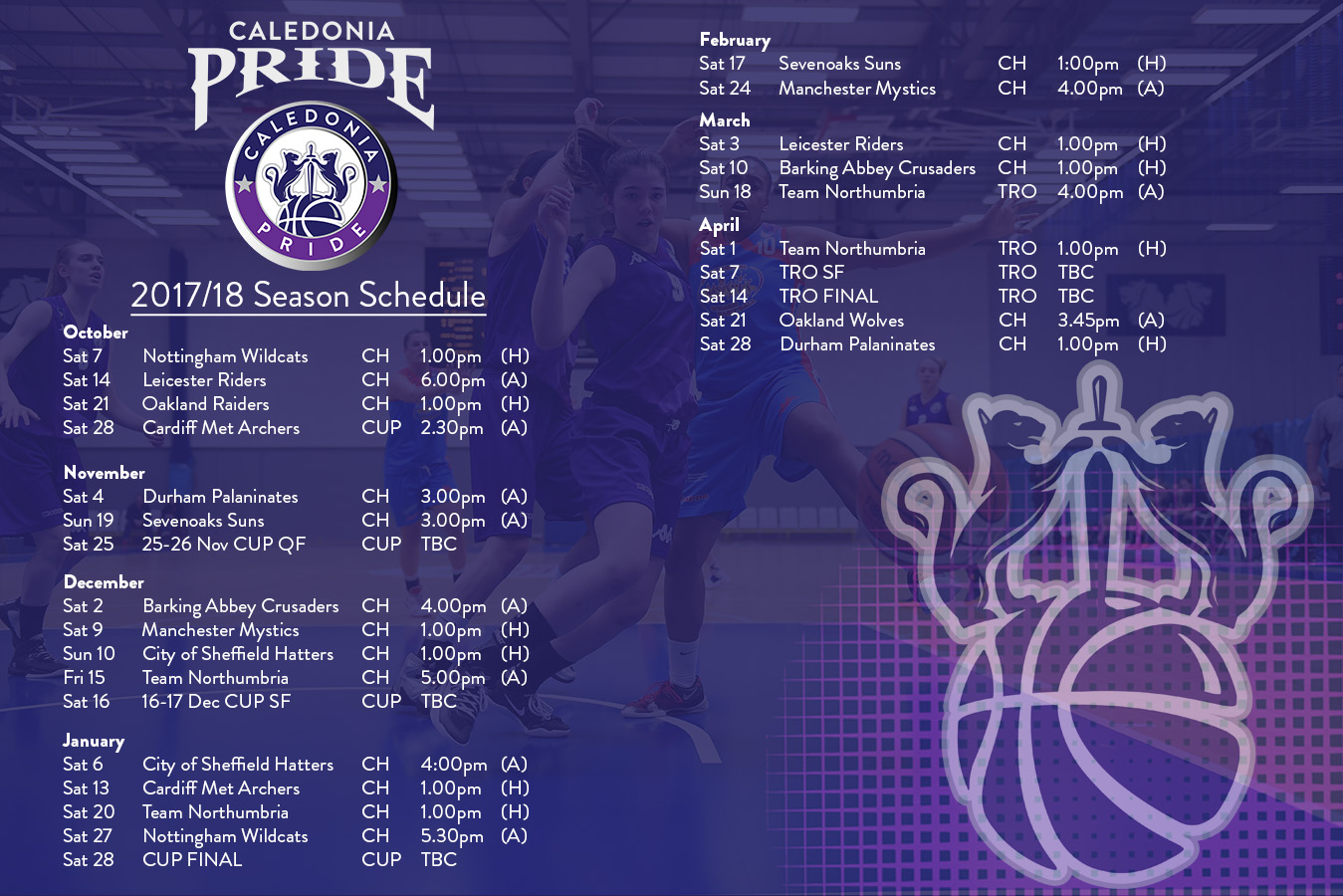 2017 18 Uk Basketball Schedule Now Complete: Caledonia Pride Confirm 2017-18 Schedule And Pricing
